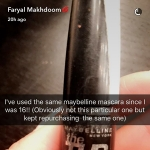 Faryal Makhdoom, Maybelline Volum Express Turbo Mascara (Snapchat Feb 26, 2017)