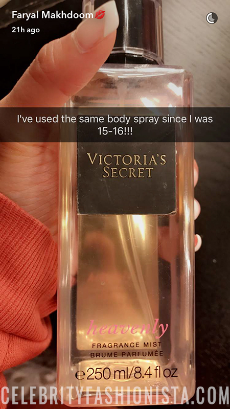 Faryal Makhdoom, Victoria's Secret Heavenly Fragrance Mist (Snapchat Feb 26, 2017)