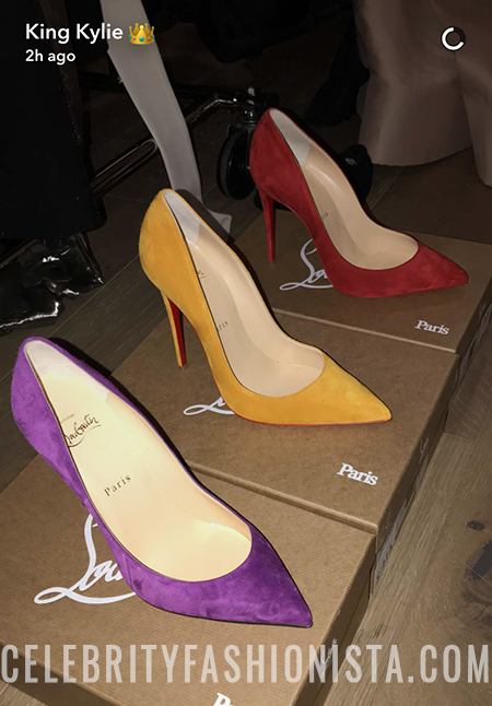 Kylie Jenner, Christian Louboutin Pigalle Follies Suede Pumps in Orange Yellow (Snapchat Jan 14, 2017)