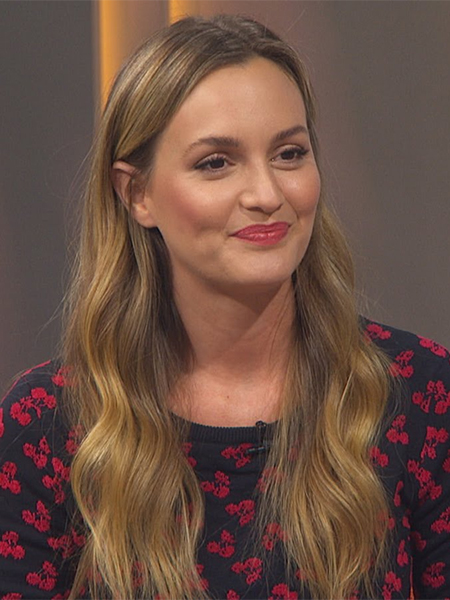 Leighton Meester in Altuzarra Clifton Cherry Sweater on Acccess Hollywood - March 13, 2017