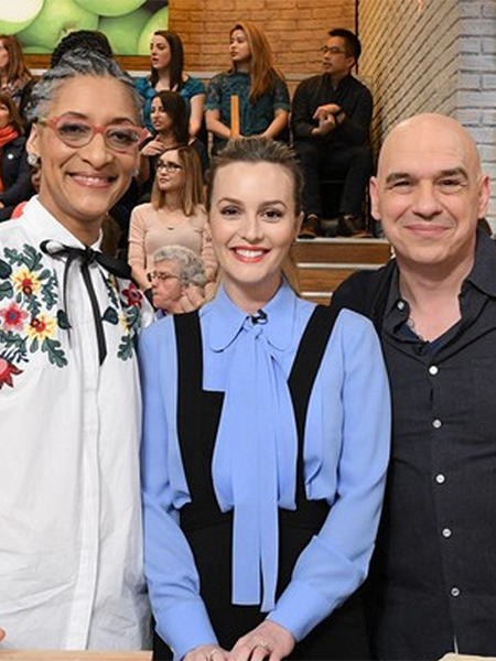 Leighton Meester in Michael Kors shirt and ALC jumpsuit on The Chew - Feb 23, 2017