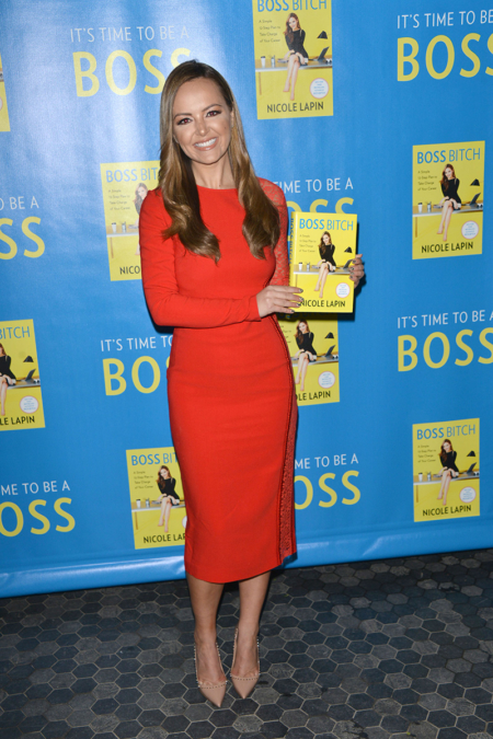 Nicole Lapin in Stella McCartney Red Fitted Lace Dress at Boss Bitch LA Launch Party - March 25, 2017