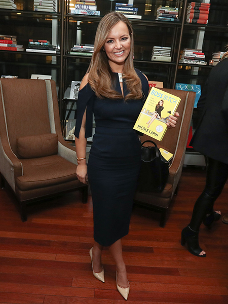 Nicole Lapin in Roland Mouret Keeling Dark Navy And White Dress at HSNi's Mindy Grossman Celebrates Female Bosses and Latest Book 'BOSS BITCH' During Interactive Panel Event at Core Club in NYC on March 22, 2017