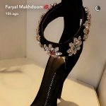 Faryal Makhdoom, Giuseppe Zanotti Design Crystal Embellished Stiletto Sandals (Snapchat March 2017)
