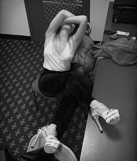 Leann Rimes, Gucci Studded Snake Platform Pumps (Instagram March 18, 2017)