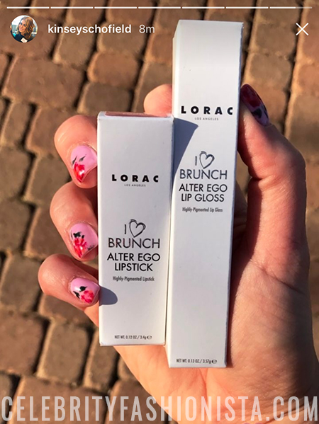 Kinsey Schofield, Lorac I Love Brunch Alter Ego Lipstick + Lip Gloss (Instagram Story March 2017)