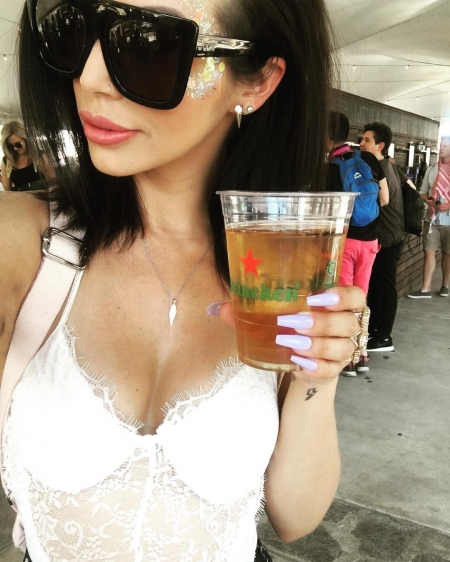 Scheana Marie, Quay Australia Caf Racer Shield Flat Top Sunglasses and White Fox Kim K Lace Bodysuit In White (Coachella Instagram April 21, 2017)