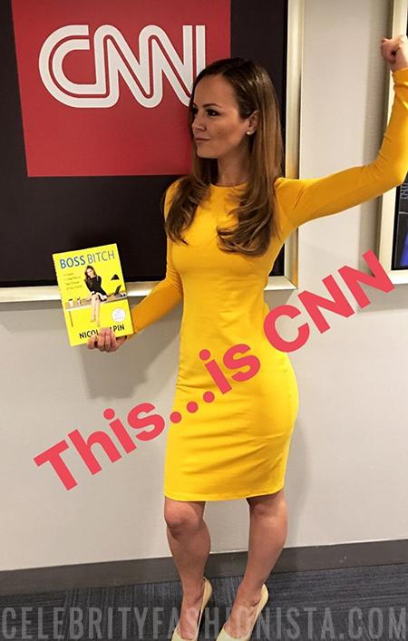 Nicole Lapin in Susana Monaco Long Sleeve Golden Emma Dress (Instagram Story April 19, 2017)