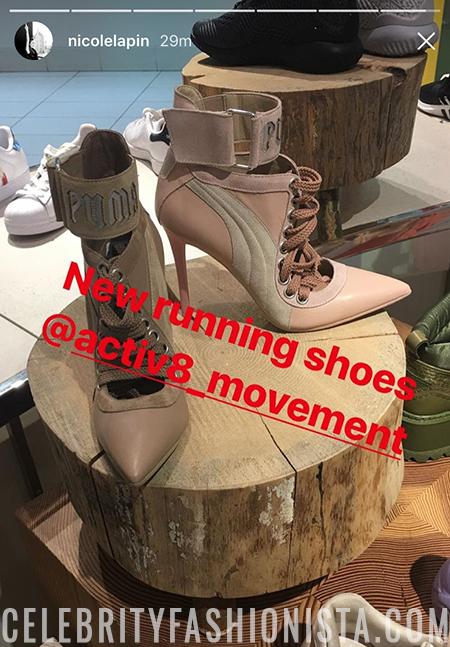 Nicole Lapin in Fenty By Puma Lace Up Heel (Instagram Story April 30, 2017)