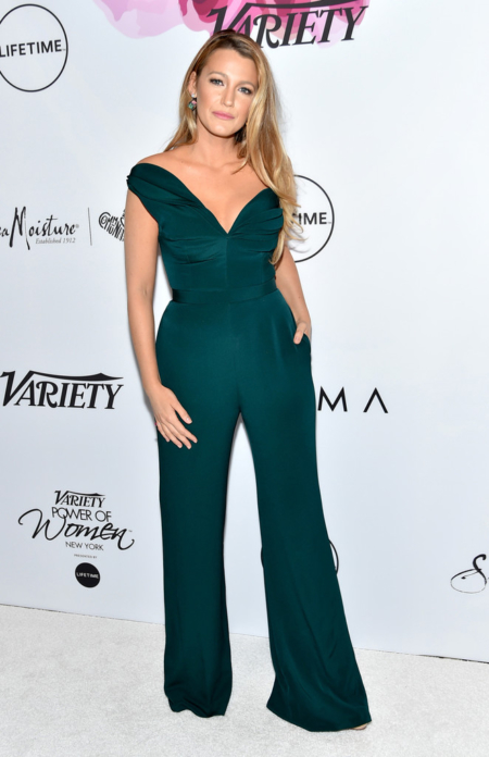 Blake Lively in Brandon Maxwell One-Shoulder Jumpsuit with Petal Details at Variety's Power Of Women: New York.