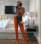 Kendall Jenner: Vetements x Manolo Blahnik Bright Orange Satin Boots