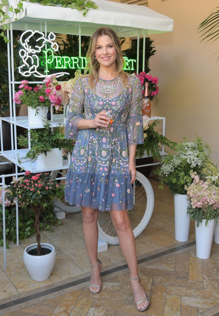 Ali Larter in Needle & Thread Embellished Dragonfly Garden Mini Dress in Slate Blue at Mother's Day Celebration on May 11, 2017 in Beverly Hills, California.