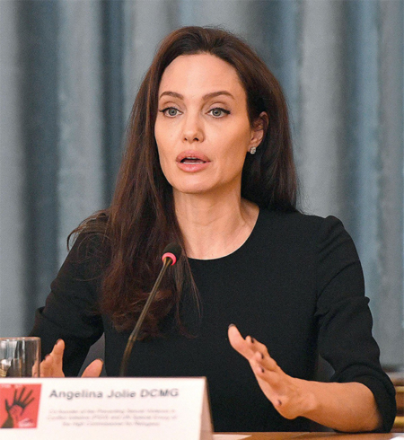 Angelina Jolie in Max Mara Biacco Dress at FCO #PSVI: 5 Years On event in March 2017.