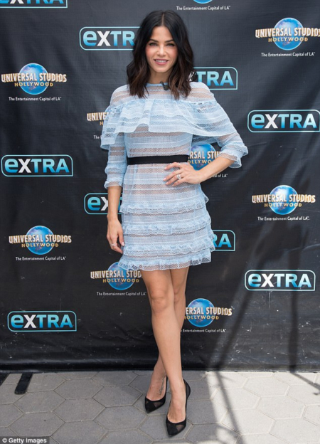 Jenna Dewan-Tatum wears a Self-Portrait Stripe Grid Lace Ruffle Dress in Baby Blue for her Extra TV appearance promoting her new show World Of Dance.