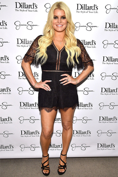 Jessica Simpson wears a Lovers + Friends Josephine Scalloped Floral Lace Romper and her own Jessica Simpson Suede Bellanne Sandals to Dillard's Spring Style event benefitting The Boys and Girls Clubs of Waco, TX on May 6, 2017.