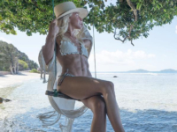 Julianne Hough wears a Zimmermann 'Mercer' crocheted triangle bikini in honeymoon Instagram shot, July 17, 2017.