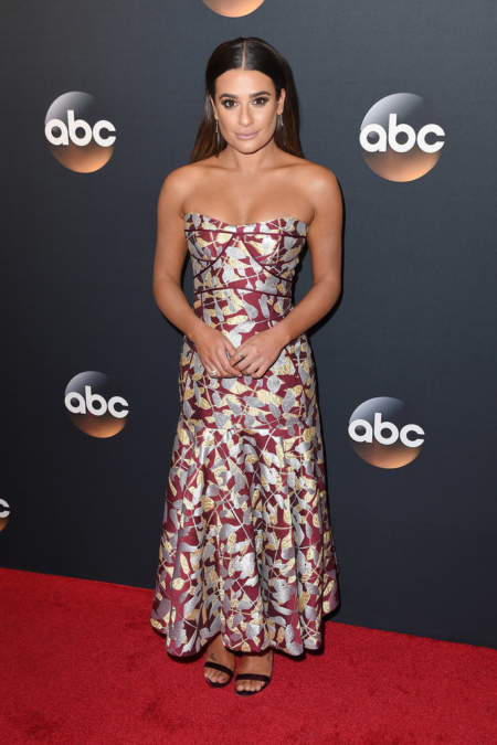 Lea Michele attends the 2017 ABC Upfront (May 16, 2017) in a J. Mendel Strapless Drop Waist Printed Dress made from Lurex Leaf Jacquard.