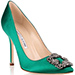 emerald green Manolo Blahnik Hangisi satin pump with a classic fume grey crystal embellished ornament