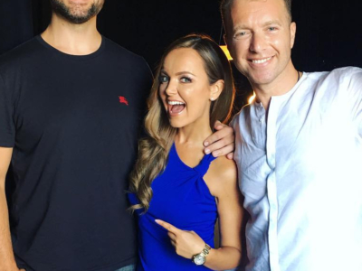 Nicole Lapin wears a Victoria Beckham Knotted Rib Jersey Dress in a pic posted to her Instagram on Aug 1, 2017.