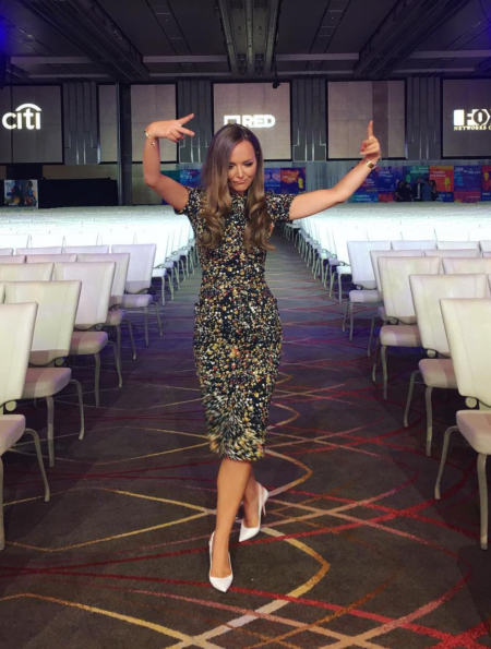 Nicole Lapin wears a Victoria Beckham Marble Jacquard Dress from the pre-fall 2017 collection in a pic posted to her Instagram on Aug 1, 2017.