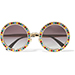 Dolce & Gabbana Crystal-embellished Round-frame Gold-tone Sunglasses