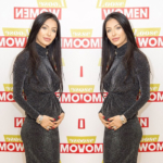 Faryal Makhdoom shows off her baby bump in a Lasula Black Lurex Long Sleeved Twist Front Midi Dress while appearing on 'Loose Women' January 2, 2018 alongside husband Amir Khan (not pictured).